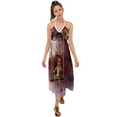 Little Fairy On A Swing With Dragonfly In The Night Halter Tie Back Dress