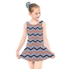 Basketball Thin Chevron Kids  Skater Dress Swimsuit by mccallacoulturesports