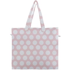 Pink And White Polka Dots Canvas Travel Bag by mccallacoulture