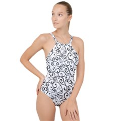 Black And White Swirls High Neck One Piece Swimsuit