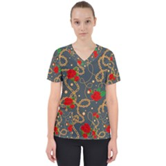 Golden Chain Pattern With Roses Women s V Neck Scrub Top