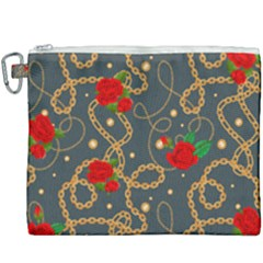 Golden Chain Pattern With Roses Canvas Cosmetic Bag (xxxl)
