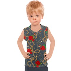 Golden Chain Pattern With Roses Kids  Sport Tank Top