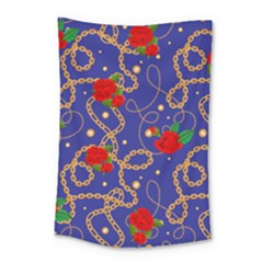 Blue Golden Chain Rose Pattern Small Tapestry