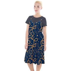 Golden Chain Pattern Camis Fishtail Dress