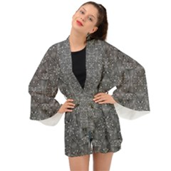 Modern Fancy Nature Collage Pattern Long Sleeve Kimono