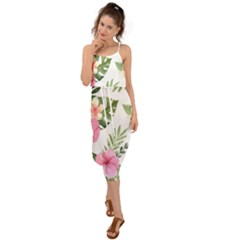 Pink Tulips Waist Tie Cover Up Chiffon Dress