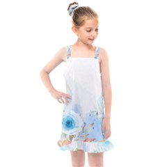 Blue Floral Print Kids  Overall Dress