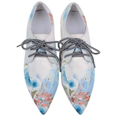 Blue Floral Print Women s Pointed Oxford Shoes
