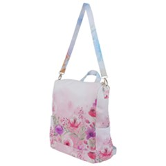 Pink Floral Print Crossbody Backpack