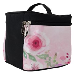 Pink Floral Print Make Up Travel Bag (small) by designsbymallika