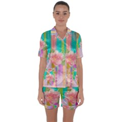 Stripes Floral Print Satin Short Sleeve Pyjamas Set