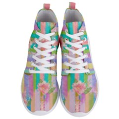 Stripes Floral Print Men s Lightweight High Top Sneakers