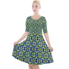45 Quarter Sleeve A Line Dress