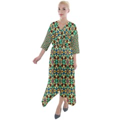 90 Quarter Sleeve Wrap Front Maxi Dress