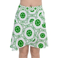 White Green Shapes Chiffon Wrap Front Skirt