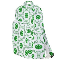 White Green Shapes Double Compartment Backpack