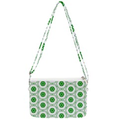 White Green Shapes Double Gusset Crossbody Bag