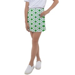 White Green Shapes Kids  Tennis Skirt by Mariart
