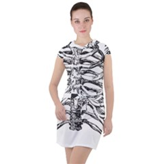 Ribs Bones Skeleton Halloween Drawstring Hooded Dress