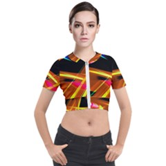 Lines Vibrations Wave Pattern Short Sleeve Cropped Jacket