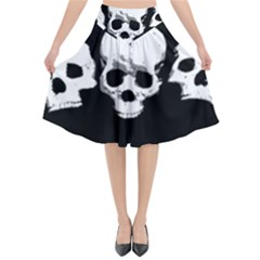 Halloween Horror Skeleton Skull Flared Midi Skirt