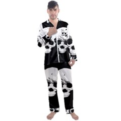 Halloween Horror Skeleton Skull Men s Satin Pajamas Long Pants Set