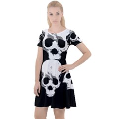 Halloween Horror Skeleton Skull Cap Sleeve Velour Dress