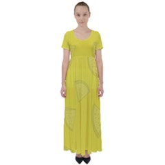 Yellow Pineapple Background High Waist Short Sleeve Maxi Dress