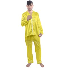 Yellow Pineapple Background Men s Satin Pajamas Long Pants Set