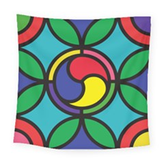 Colors Patterns Scales Geometry Square Tapestry (large)