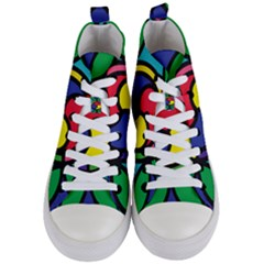 Colors Patterns Scales Geometry Women s Mid-top Canvas Sneakers