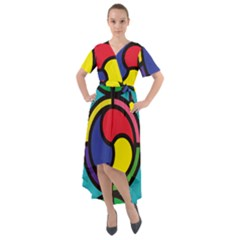 Colors Patterns Scales Geometry Front Wrap High Low Dress