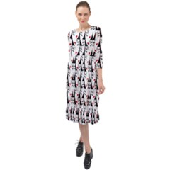 Cartoon Style Asian Woman Portrait Collage Pattern Ruffle End Midi Chiffon Dress