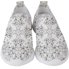 Black And White Decorative Ornate Pattern Kids  Slip On Sneakers by dflcprintsclothing
