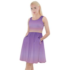 Sunset Evening Shades Knee Length Skater Dress With Pockets