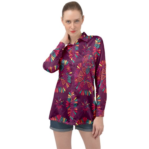 Circle Pattern Long Sleeve Satin Shirt by designsbymallika