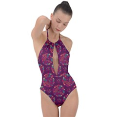 Circle Pattern Plunge Cut Halter Swimsuit
