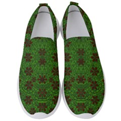 Rose Stars So Beautiful On Green Men s Slip On Sneakers by pepitasart