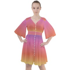 Rainbow Shades Boho Button Up Dress