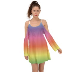 Rainbow Shades Kimono Sleeves Boho Dress
