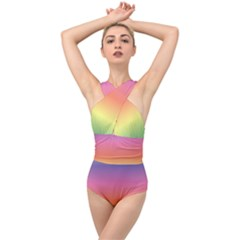 Rainbow Shades Cross Front Low Back Swimsuit by designsbymallika