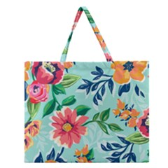 Multi Colour Floral Print Zipper Large Tote Bag by designsbymallika