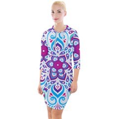 Mandala Blue Quarter Sleeve Hood Bodycon Dress