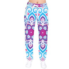 Mandala Blue Women Velvet Drawstring Pants
