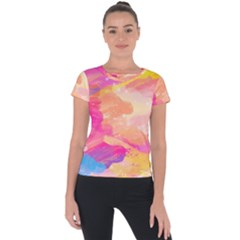 Colourful Shades Short Sleeve Sports Top  by designsbymallika