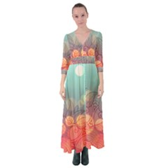 Mandala Pattern Button Up Maxi Dress