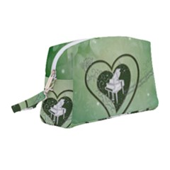 Music, Piano On A Heart Wristlet Pouch Bag (medium)