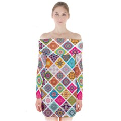 Ethnic Mandala Pattern Long Sleeve Off Shoulder Dress