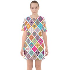 Ethnic Mandala Pattern Sixties Short Sleeve Mini Dress